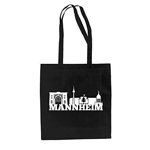 Shirt Department - Jutebeutel - Mannheim Skyline schwarz-Weiss