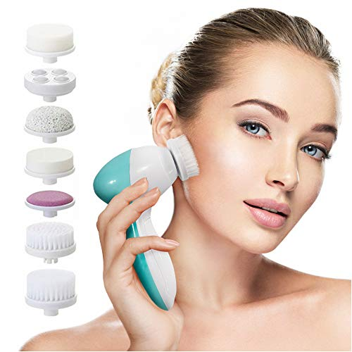 Facial Cleansing Brush Face Spin Brush with 7 Exfoliating Brush Heads for Gentle Exfoliation and Deep Scrubbing, Removing Blackhead, Deep Cleansing [Newest 2020] (Turquoise)