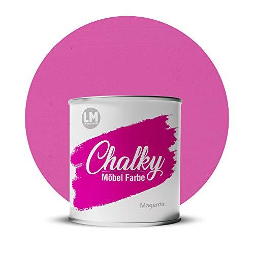 LM-Kreativ Chalky Möbelfarbe deckend 1 Liter / 1,35 kg (Magenta), matt finish In- & Outdoor Kreide-Farbe für Shabby-Chic, Vintage, Landhaus Stil