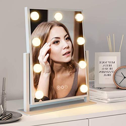 FENCHILIN化粧鏡女優ミラー卓上鏡ハリウッドミラー三色照明モード明るさ調節可能9個LED電球付き10倍拡大鏡付き360度回転(ホワイト)