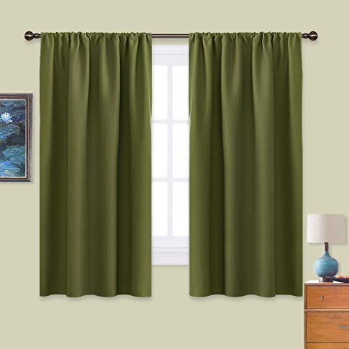 NICETOWN Window Curtains Blackout Drapes - Thermal Insulated Solid Rod Pocket Blackout Curtains/Draperies for Living Room (One Pair,42 by 63-Inch,Olive Green)