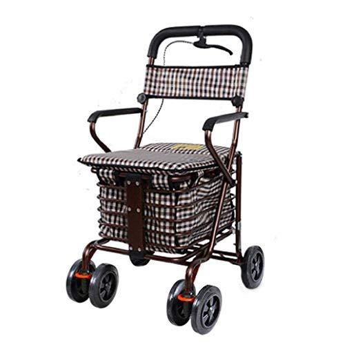WXDP Autopropulsado Carro de Compras con Asiento/Carro de Compras para Anciano Carro/Marco de Acero Franela Cestas de Almacenamiento de Alta Capacidad