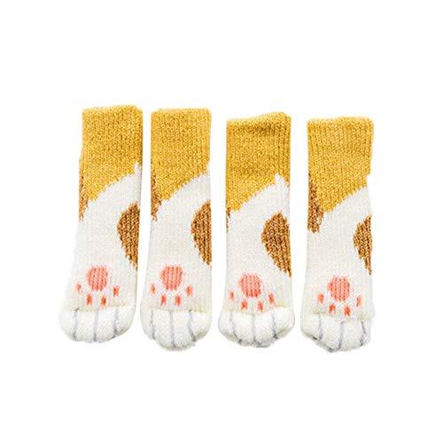 mysticall Cute Cat Paw Furniture Leg Covers Knitted Caps Pads Chair Socks Floor Protectors Fancy Table & Chair Leg Protectors with Cute Cat Paws Design innate