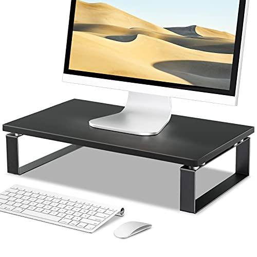 Furduzz Monitor Ständer Bildschirmständer, Holz und Stahl Desktop Ständer für Computer, Laptop und Drucker, Monitor Riser Bildschirmerhöhung Regal Organizer für Büro Schreibtisch Zubehör