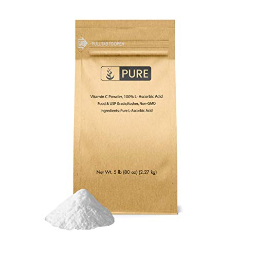 Vitamin C Powder (5 lb.) by Pure Organic Ingredients, Eco-Friendly Packaging, L-Ascorbic Acid, Antioxidant, Boost Immune System, DIY Skin Care