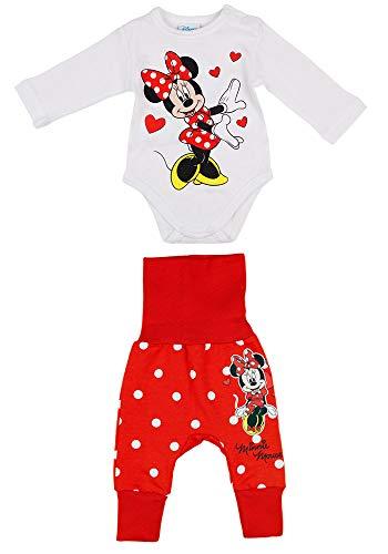 Minnie Mouse Latzhose-Set Strampler-Set für Mädchen Disney Baby in Größe 56 62 68 74 80 86 Baumwolle Rot mit Body und mitwachsende Baby-Harem-Hose Größe 80/86
