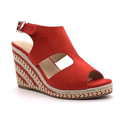 Angkorly - Damen Schuhe Sandalen Espadrille - Folk/Ethnisch - Böhmen - Offen - Seil - mit Stroh Keilabsatz 10 cm - Rot 3 YL128 T 40