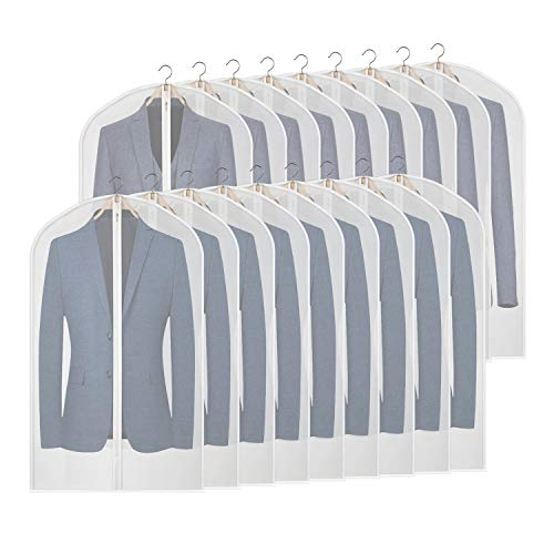 KEEGH Hanging Suit Bags Clear Garment Bag for Storage Lightweight 40inch Shirt Protector Cover Bag Moth-Proof Set of 18 Full Zipper PEVA Breathable Translucent Dust Cover for Closet Clothes