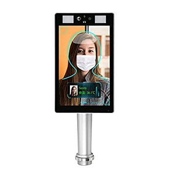 LEFTEK Temperature Kiosk System Face Recognition Body Temperature Measurement Temperature Detection Scanner Access Control Punch Card All-in-One Machine with Face Comparison Library