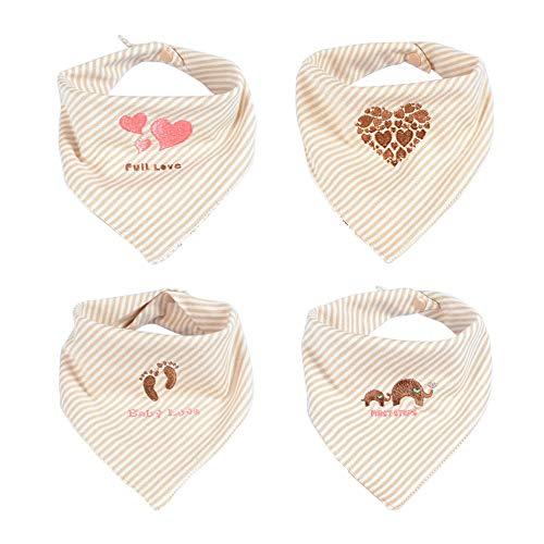 Dreieckstuch Baby, Unisex Baby Bandana Drool Lätzchen aus reiner weicher Baumwolle mit verstellbarem Verschluss für das sabbernde und zahnmedizinische Kleinkind von Enfant (Packung mit 4 Stück)