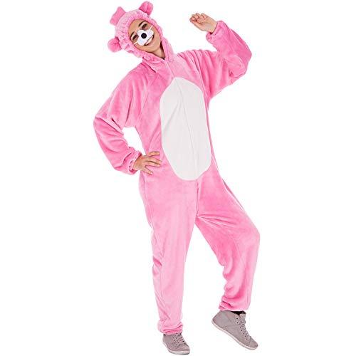 TecTake Disfraz Completo de Oso para Hombre y Mujer | Unisex | Incl. Nariz (XL | Rosa | No. 300880)