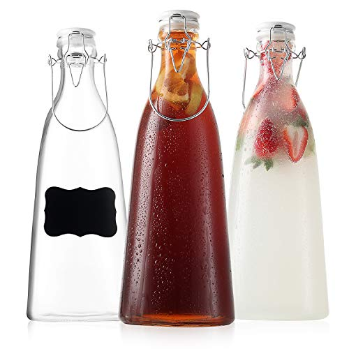Ceramic Flip Top Glass Bottles - Bottles with Swing Top Lids – Clear Bottles with Stopper - Swing Top Bottles for Beverages, Smoothies, Kefir, Soda, Juicing, Kombucha, Water, Milk, Oil and Vinegar (3 Pack 50 Oz)