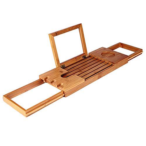 GLFZWJ Robustes Wandregal Badezimmerregale, Bambus Badewanne Caddy Tray Adjustable Badewanne Regal Mobil Tablet-Rack Einziehbaren Multi-Funktions-Bad Badewanne Rahmen Shelf