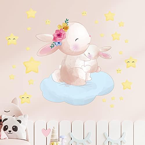 HUIJK Dormitorio decorativo Conejo Estrella Goma Adhesivo Adhesivo de Pared de la Habitación de los Niños Dormitorio Creative Wallpaper Pvc Papel pintado decorativo (Color: Qz0203)