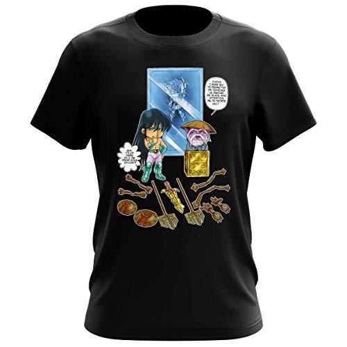 Okiwoki T-Shirt Homme Noir Parodie Saint Seiya - Shiryu du Dragon et Dohko Chevalier d'or de la Balance - Un Choix très Difficile. (T-Shirt de qualité Premium de Taille XL - imprimé en France)