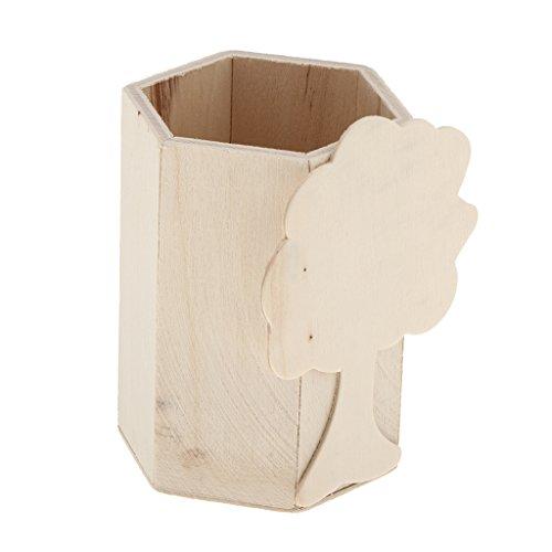 MagiDeal Boîte en Bois Inachevée De Stockage De Récipient De Stylo De Conception d'arbre pour L'artisanat De Bricolage d'enfants
