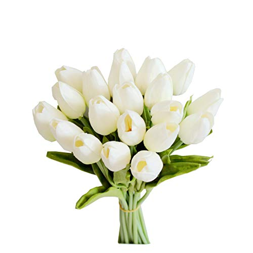 """Mandy's 20pcs White Artificial Tulip Silk Flowers 13.5"""" for Home Kitchen Wedding Decorations"""