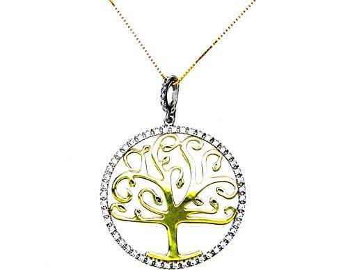 Collana Oro Bianco Giallo 18kt (750) Catenina Veneta Pendente Albero della Vita Bicolore Zirconi Donna
