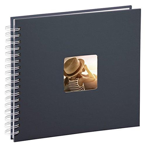 Hama Fotoalbum 28x24 cm (Spiral-Album mit 50 weißen Seiten, Fotobuch mit Pergamin-Trennblättern, Album zum Einkleben und Selbstgestalten) grau