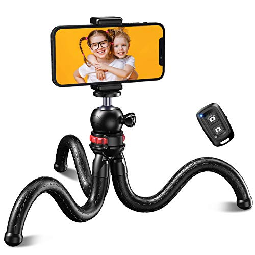 Cocoda Phone Tripod, Flexible Portable Camera Tripods with Bluetooth Remote Control, Mini Travel Tripod for Filming/Vlogging/Live Streaming, Compatible with iPhone/Android Phones, Camera, GoPro