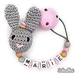 Schnullerkette mit Namen Gravur Süßer Hase Geschenk Taufe Geburt Silikonring individuell   Mädchen rosa Namenskette