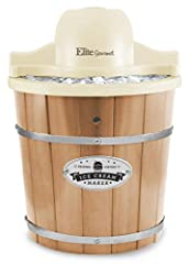 Makes 4 quarts of cold and creamy ice cream, gelato, frozen yogurt, or sorbet. Hand-crafted solid Pine wood bucket. Great for barbeques, family parties and picnics Powerful electric motor-driven paddle to whip creamy consistency. Makes fresh ice crea...