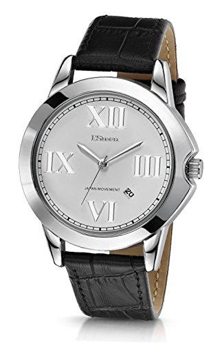 F.Steen Altitude-FS2C3 - Reloj analógico de cuarzo japonés con correa de piel auténtica, estilo moderno, color plateado