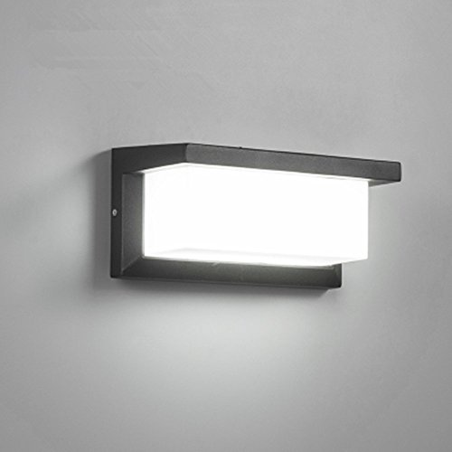 Lightess Apliques de Pared LED 12W Lámpara Exterior Impermeable IP65 Luz de Aluminio Luz Agradable Impermeable Iluminación en Moda para Balcón, Jardín, Porche, Camino, Patio, Blanco Frío