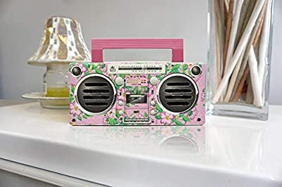 GPO BRONX Mini Bluetooth Speaker. Compact Retro Portable Speaker with Rechargeable Battery includes USB Port, TF Card Port & Aux - Floral Pink by GPO