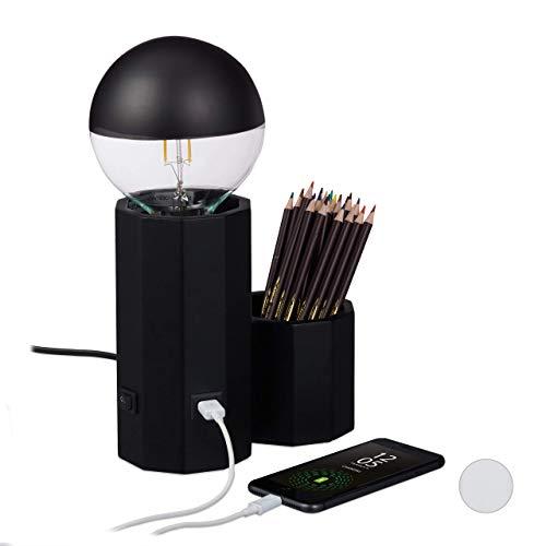 Relaxdays Lampada da Tavolo con Porta USB, Porta Matite, E 27, da Scrivania, HLP: 18,5 x 19 x 10 cm, Nero