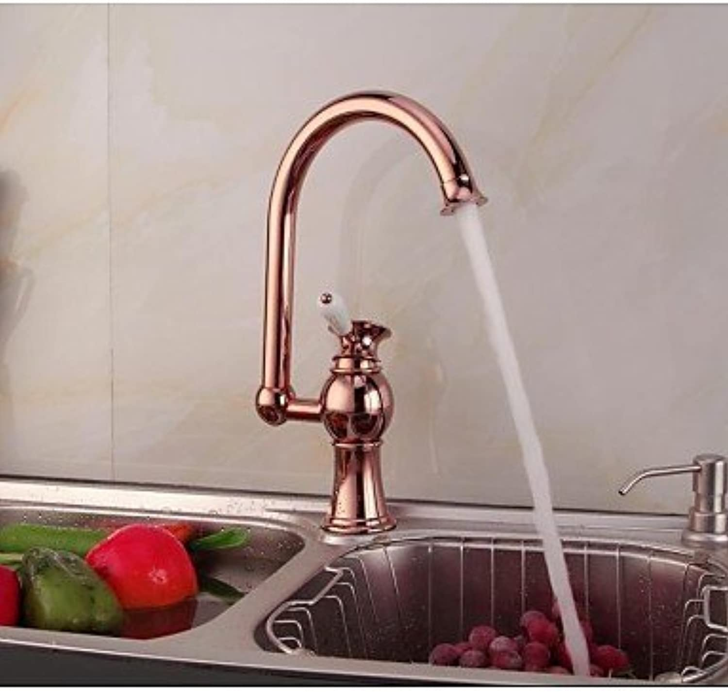 KHSKX Contemporary pink gold Finish Single Ceramic Handle Single Hole Brass Kitchen Faucet