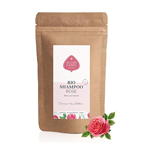 ROSE Bio Pulver Shampoo Nachfüllpackung 250 Gramm I Vegan und Tierversuchsfrei I Umweltfreundliche Nachfüllpackung I Haut und Haar I Damen und Herren Shampoo I ca. 100 Anwendungen I Zero (Green) Waste