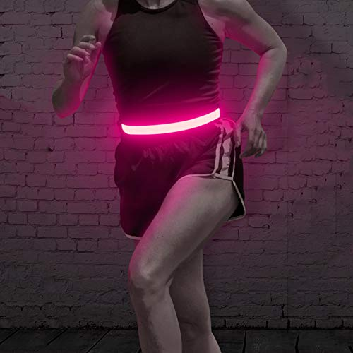 BSEEN LED Waist Belt for Running - USB Rechargeable Glowing Elastic Waistband with Reflective Stitches, Night Safety Lights for Runners, Joggers, Cyclists, Pet Owners (Rose Red)