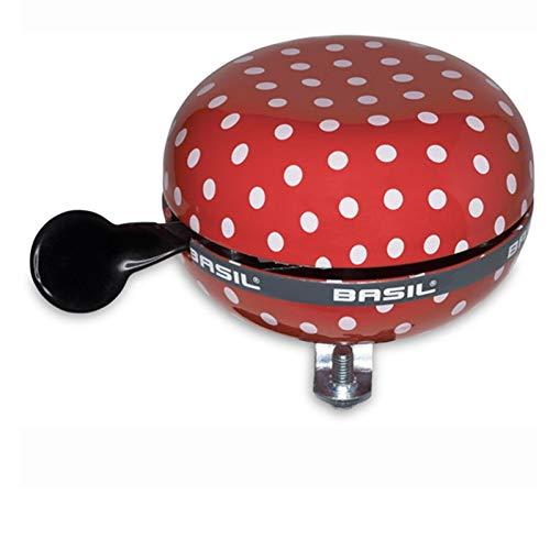 Basil Glocke Big Bell Ding Dong Fahrradklingel, Muster Polkadot rot weiß