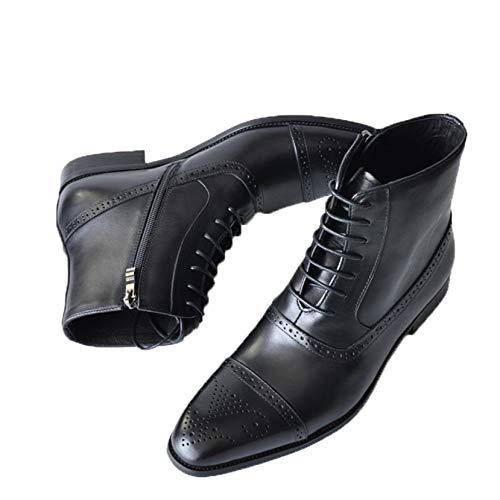 Botines para Hombre Brogue Punta Cuadrada con Cordones Cremallera Zapatos Casuales Transpirables Botas de Cuero Antideslizantes