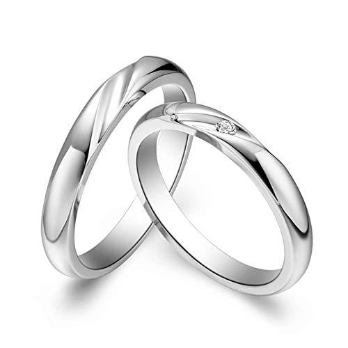ANAZOZ 2 Pcs Trauringe/Eheringe 18 Karat Weißgold Bandring Wellen mit Diamant 0.02ct Eheringe Partnerringe Verlobungsringe Hochzeitsringe Damenring 54 (17.2) & Herrenring 65 (20.7)