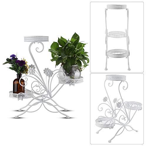 DD&Eren Flores Escaleras Estante de Hierro para macetas de 3 Niveles para Interior y Exterior, balcón, Sala de Estar, Soporte de exhibición de Plantas (Blanco)