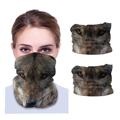 Beauty-Design 2 piezas de lobo bozal depredador polaina para el cuello, pasamontañas, bandana para motocicleta, bufanda para hombres y mujeres