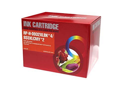 TONERPACK 932XL/933XL V4/V5 Pack de 10 Cartuchos de Tinta Genericos para HP - Reemplaza C2P42AE