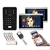 Timbre de video Tuya Wifi, sistema de videoportero de 7 pulgadas, intercomunicador, cámara de visión nocturna + 2 monitores, desbloqueo de APP remota con contraseña