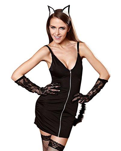 Shangrui Donna Cosplay di Lingerie Dress Sling Anteriore della Chiusura Lampo