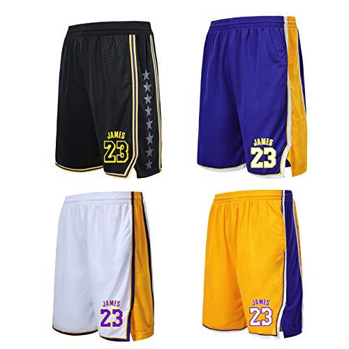 ERPA Lēbron James Lakers #23 Herren Basketball-Sport-Shorts, Lauf-Shorts, Fitnessstudio, Laufen, Sommer, Sport-Shorts, mit Taschen, schnell trocknend, Symbol für Ehre Gr. XXL, weiß