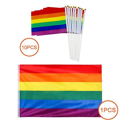 3 x 5 pies Bandera del Arco Iris de Orgullo de Gay Lesbiana de Paz de LGBT de Fiesta Carnaval +10pcs Apretón de Mano Bandera Arcoiris