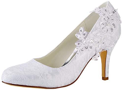 Emily Bridal Brautschuhe Frauen Seide wie Satin Stöckel Absatz Pumps mit Stitching Spitze Blume Crystal Pearl (EU40, Weiß)