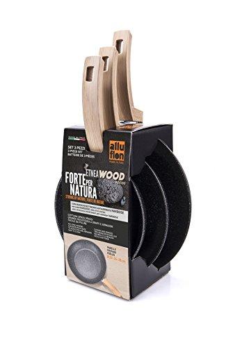 Alluflon Etnea Wood Edition - Juego de 3 sartenes, aluminio
