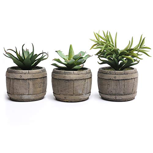 MyGift Assorted Mini Artificial Succulents Plants in Rustic Wood Barrel Design Pots, Set of 3, Brown