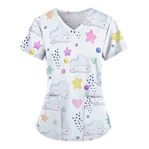 Kasack Damen Pflege Bunt Motiv Bluse T-Shirt Schlupfkasack mit Taschen Kurzarm V-Neck Schlupfhemd Berufskleidung Krankenpfleger Uniformen Tops Op-Kleidung