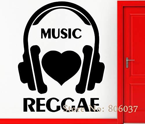 Verwijderbare muziek muursticker vinyl sticker muziek ik hou van reggae cool rock pop decoratie woondecoratie behang 42x50cm