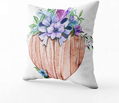 Funda de almohada para sofá, diseño de corazón de madera de acuarela decorado con flores rústica, invitación perfecta de 40,6 x 40,6 cm, fundas de almohada para sofá o sofá