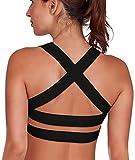 SHAPERX Mujeres Desmontables Copas Cushion Apoyo Deporte Bra Yoga BH Top Strappy Cross X-Back Cuello Colgante,UK-DT143-Black-L